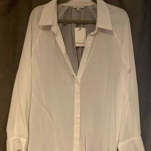 VICI blouse with striped detail back. NWT!